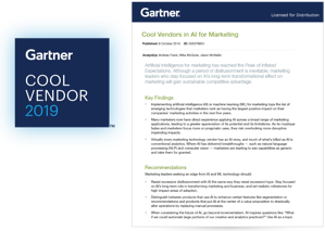 Gartner Cool Vendor in AI for Marketing report